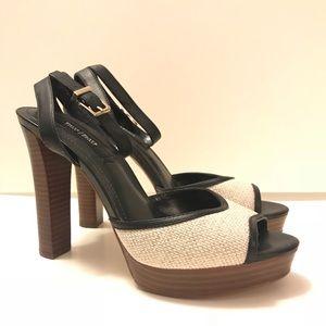 WHBM 7 1/2 platform wood heels black tan